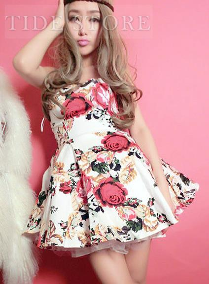 Sexy floral slim strapless bubble dress: tidestore.com
