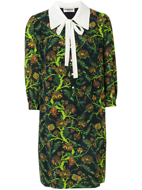 ESSENTIEL ANTWERP dress bow dress bow women floral print blue silk