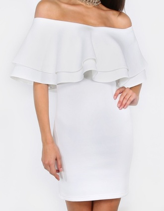 dress girly girl white white dress bodycon dress off the shoulder