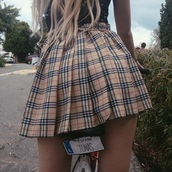 skirt,tartan,tumblr,indie,grunge,plaid skirt,pleated skirt,burberry,vintage,tennis skirt,plaid,blonde hair,short skirt,girl,bike,beige skirt,cute,clothes,nude,mini skirt,carreau,style,streetstyle,streetwear,grunge wishlist