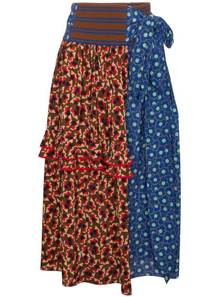 skirt wrap skirt women floral cotton silk brown
