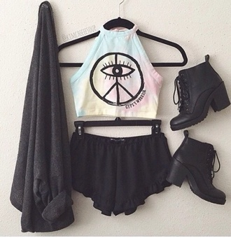 top multicolor eye sign crop tops peace sign