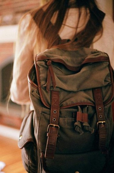 buckles bag vintage backpack rucksack olive hipster leather