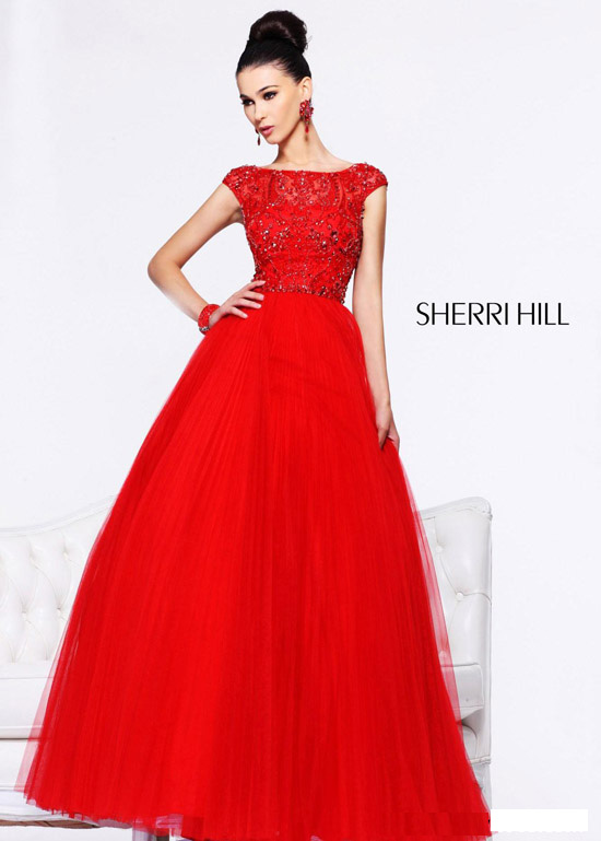 Hill 2984 Off the Shoulder Beaded Long Tulle Gown [Sherri Hill ...