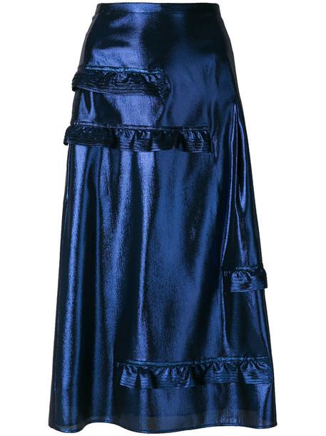 Burberry skirt metallic ruffle women blue silk