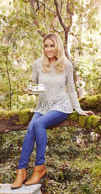 blouse lace top lauren conrad ankle boots jeans fall outfits shoes