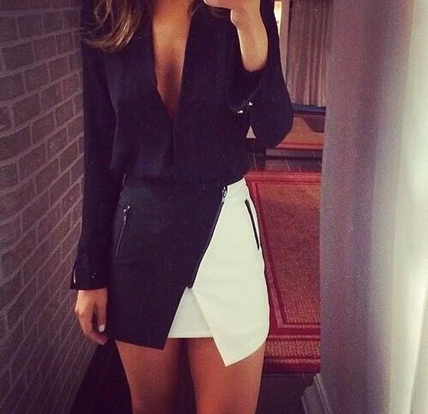 skirt monochrome skirt monochrome black white skirt with zipper skorts