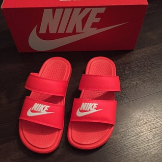 shoes nike nike slides slide shoes red red nike slides red shoes pink pink slippers red sandals pink shoes flats nike shoes