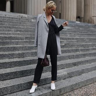 happily grey blogger jumpsuit jacket shoes bag grey coat black jumpsuit striped jumpsuit spring outfits