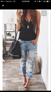 top,criss cross,ripped jeans,black,jeans,boyfriend jeans,streetstyle,denim,shirt,blue