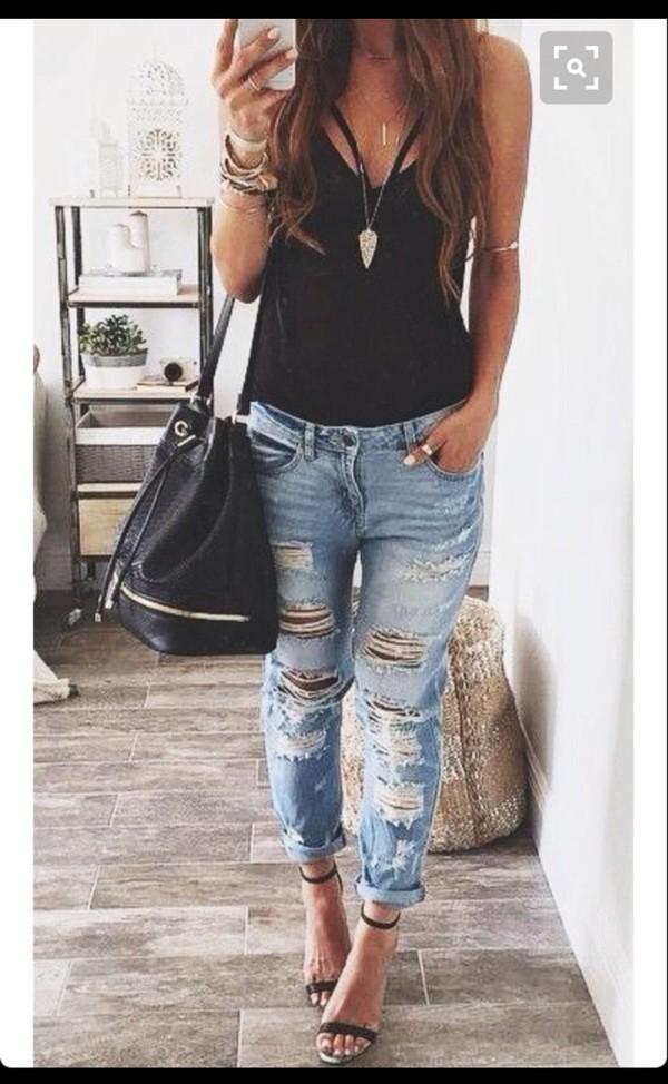 75f5e4618b4 top criss cross ripped jeans black jeans boyfriend jeans streetstyle denim  shirt blue.
