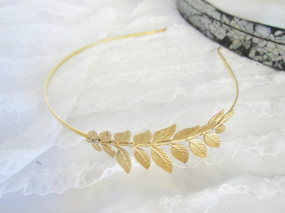 Gold grecian  leaf headband for your wedding by peacockandlotus