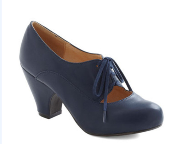 Shoes: blue shoes, thick heel, lace-up shoes, low heels - Wheretoget