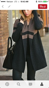 coat,clothes,women's coats,black coat,oversized sweater,cardigan,thick,grey coat,black brown oversized hooded sweater coat,brown black coat,brown and black,sweater,black and brown sweater coat,shoes,black and brown sweater  coat,manteaux,manteau,black,grey,cute,brown,sleeve
