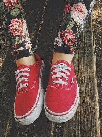 pants floral leggings flowered jeans vans printed leggings shoes red vans