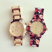 jewels,watch,floral,gold,copper watch,gold watch,accessories,Accessory