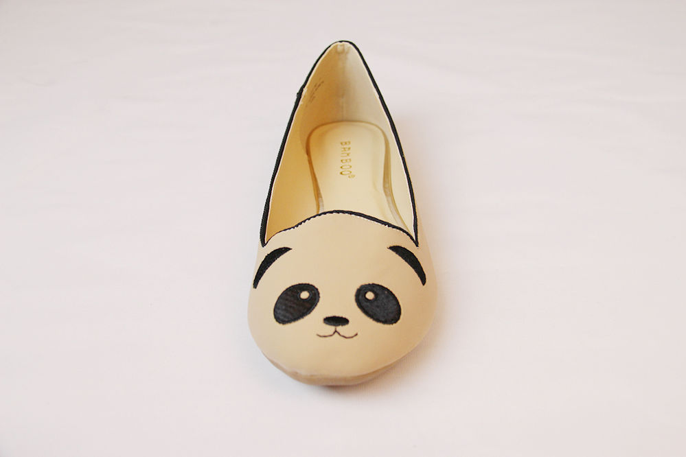 New Women's Shoes Bamboo Lula 80 Nude Cute Panda Round Toe Loafer Flats | eBay