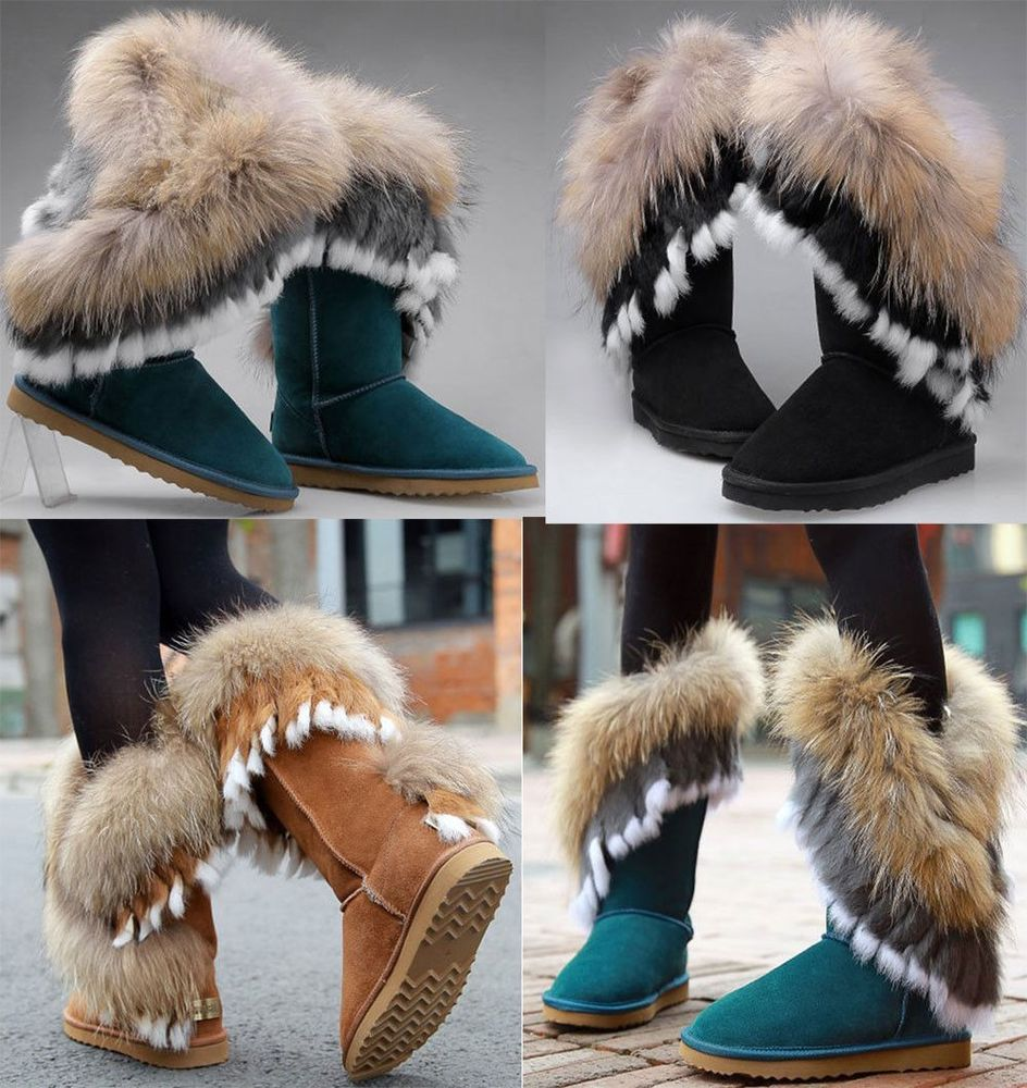 New women's shoes real fur lining mid calf snow boots cow leather warm fur boots