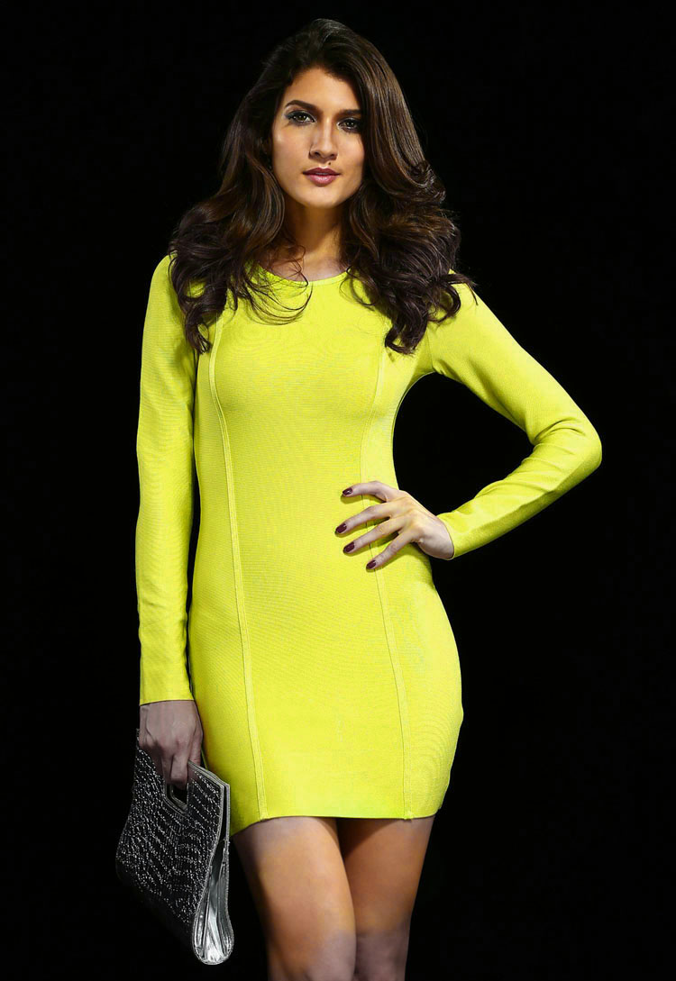 Long Sleeve Wedding Party Slim Bandage Dress H68Y$109