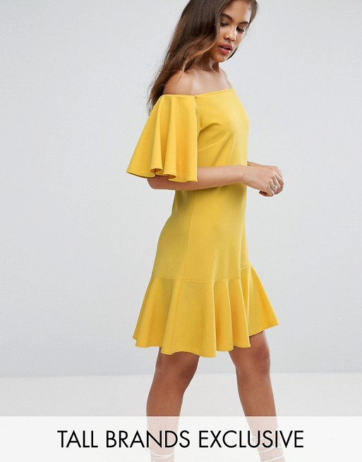 John Zack Tall Off Shoulder Mini Dress With Fluted Hem Detail at asos.com