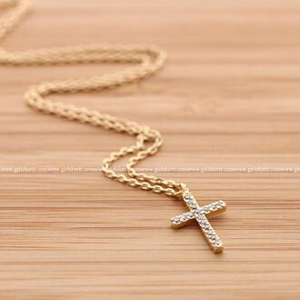 cross cross necklace necklace jewels simple