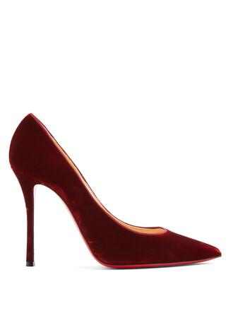 pumps velvet dark orange shoes