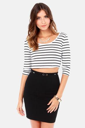 Cute White Top - Black Top - Striped Top - Crop Top - $30.00