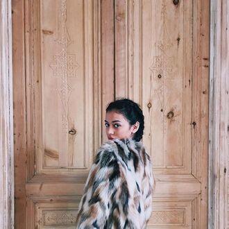 jacket faux faux fur coat fur coat mixed fur wolfiecindy