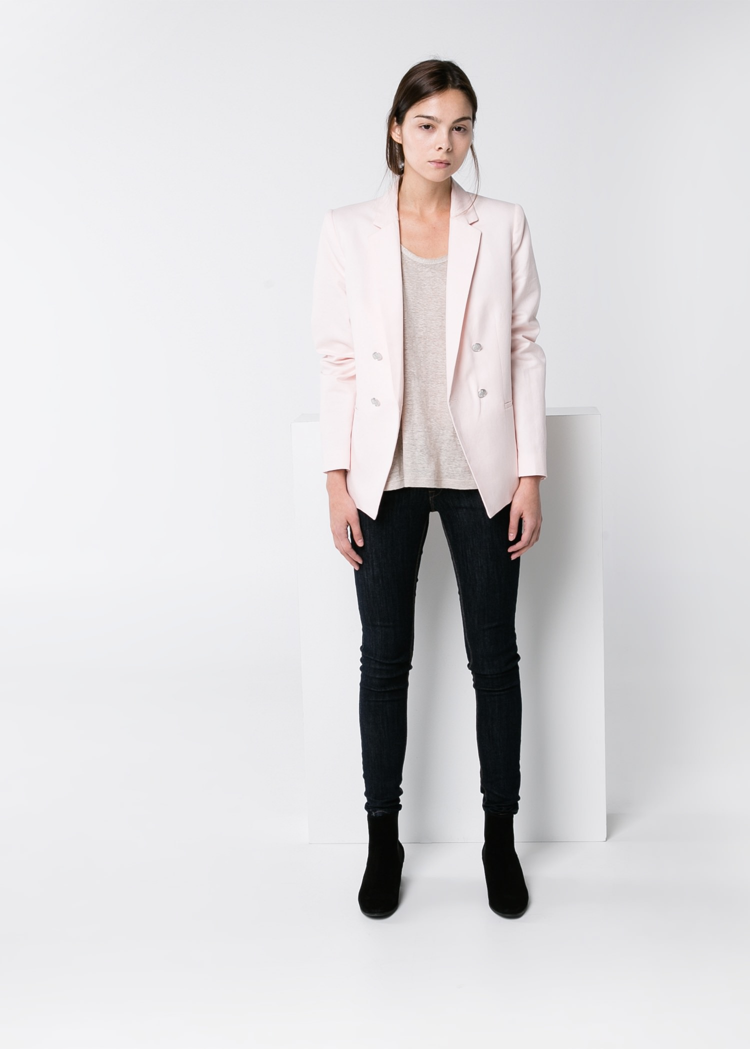 Linen cotton-blend blazer - T-shirts and tops for Women | MANGO