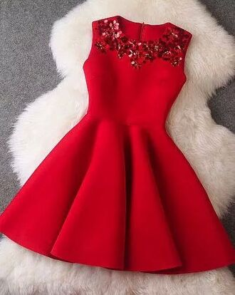 red dress embroidered holiday season sleeveless dress fancy dress short dress christmas party bling skater dress short short red dress nice dress prom dress homecoming dress red girl glitzer