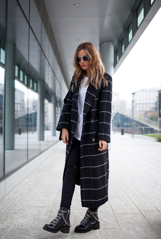 the fashion fruit blogger checkered coat round sunglasses long coat ankle boots hipster wishlist