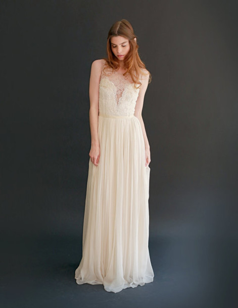Dress: wedding, wedding dress, maxi, maxi dress, cream, lace ...