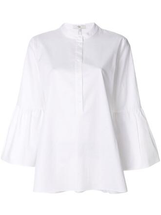 tunic women white cotton satin top