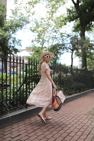 dress sunglasses hat tumblr pink dress midi dress short sleeve dress shoes mules bag straw bag white sunglasses sun hat