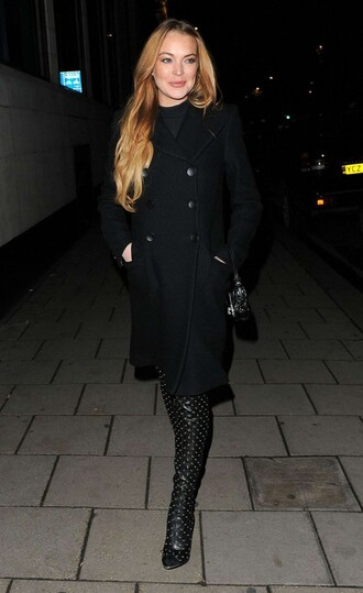 shoes boots all black everything lindsay lohan coat fall outfits