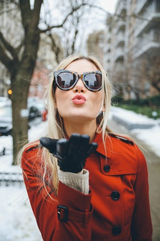 barefoot blonde blogger make-up sunglasses gloves trench coat rust blonde hair valentines day fall colors