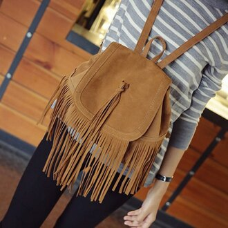 bag fashion style fringes light caramel brown color trendy back to school backpack boho gypsy rose wholesale-jan