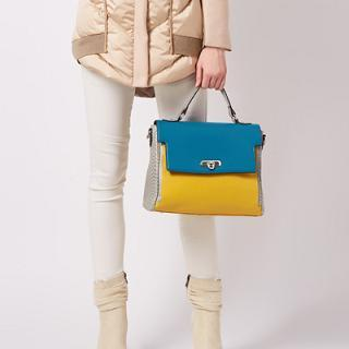 Faux-Leather Color-Block Flap Satchel, Yellow , One Size - O.SA | YESSTYLE