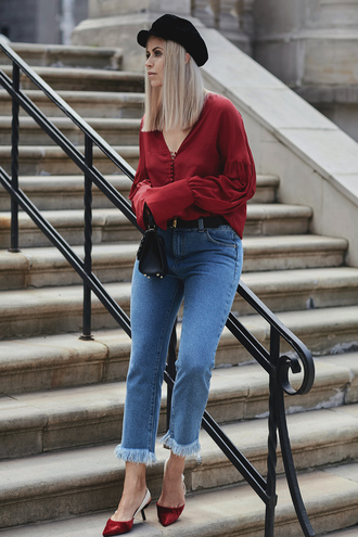 shirt tumblr red shirt denim jeans blue jeans frayed denim frayed jeans shoes red shoes slingbacks fisherman cap bag hat