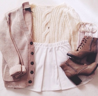 shoes sweater skirt cardigan style jewels pastel pink