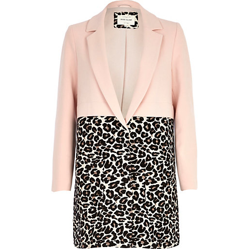 Pink leopard print two-tone coat - coats - coats / jackets - women