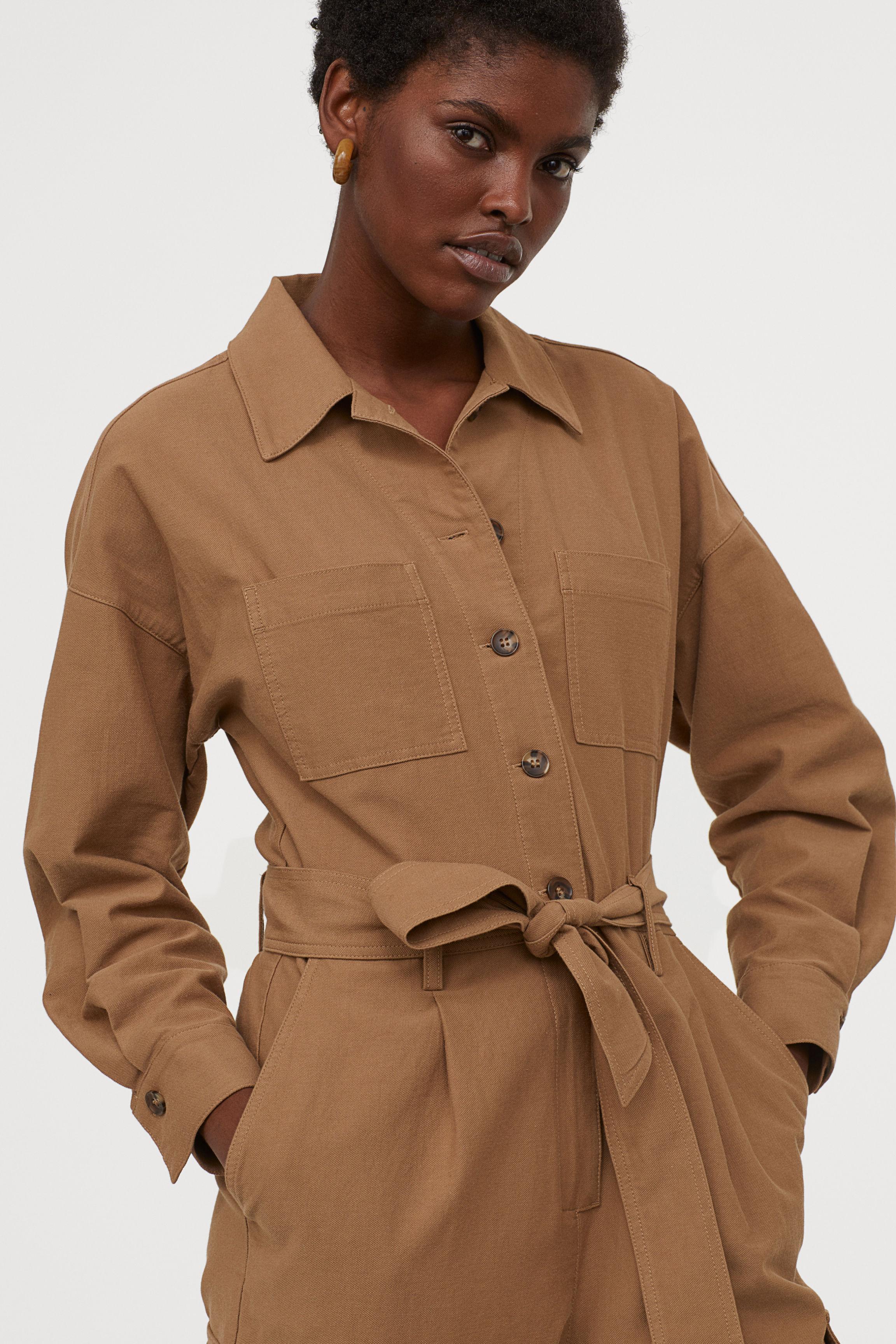 Utility jumpsuit - Dark beige - Ladies | H&M GB