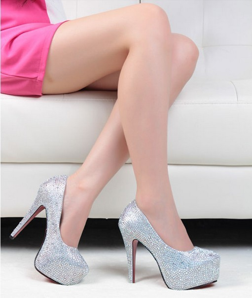 Free Shipping 14/CM prom heels wedding shoes women crystal genuine leather  woman platforms silver rhinestone platform pumps-in Pumps from Shoes on Aliexpress.com