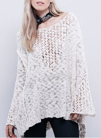 sweater lace crochet white warm fall outfits casual top fashion style knitwear long sleeves