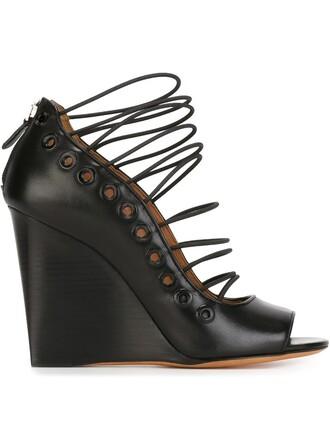 sandals wedge sandals lace black shoes