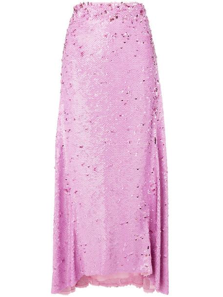 NINA RICCI skirt women spandex draped silk purple pink