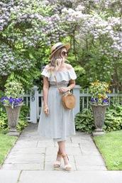 dress,summer dress,off the shoulder dress,hat,shoes,bag