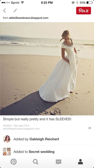 dress modest gorgeous pockets sleeves wedding dress white
