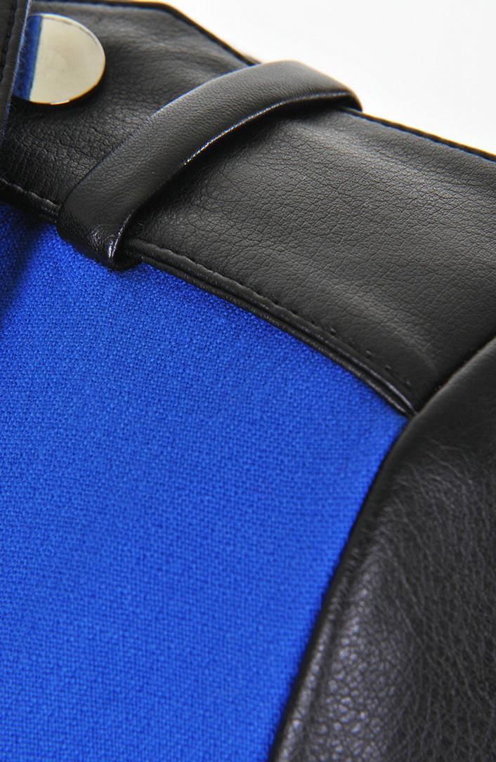 Blue Contrast Leather Long Sleeve Drawstring Crop Coat - Sheinside.com