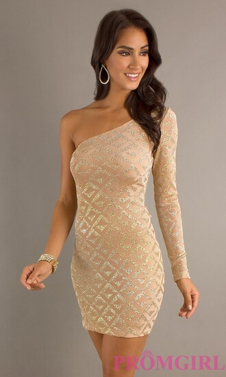 dress evening dress beaded one shoulder nude party dress